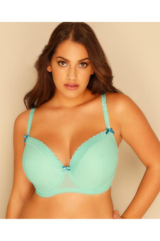 Plus Size Bras Wired Mint Green Diamond Mesh & Lace Trim Underwired Bra