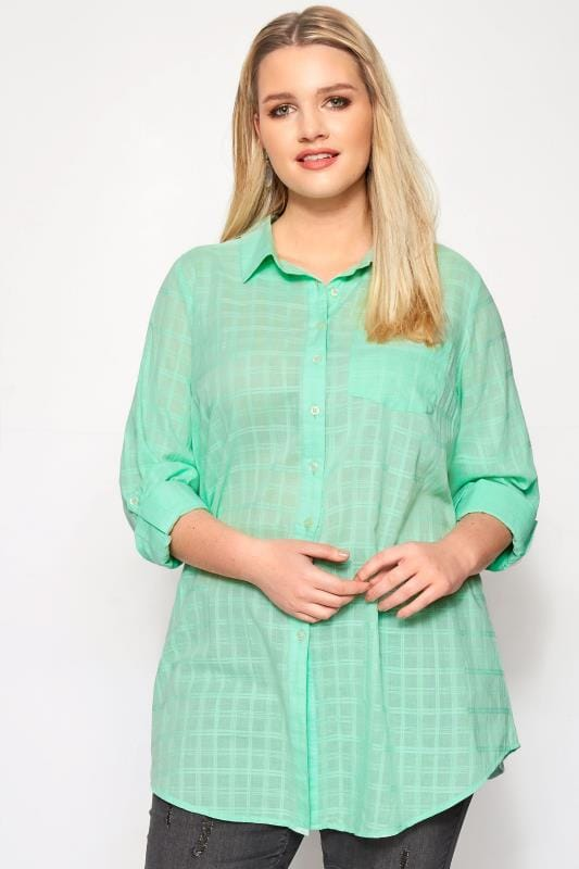 Plus Size Shirts Mint Green Dobby Check Tie Front Shirt