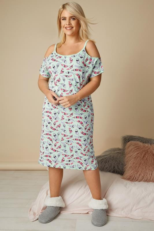 Mint Green Feather Print Cold Shoulder Nightdress