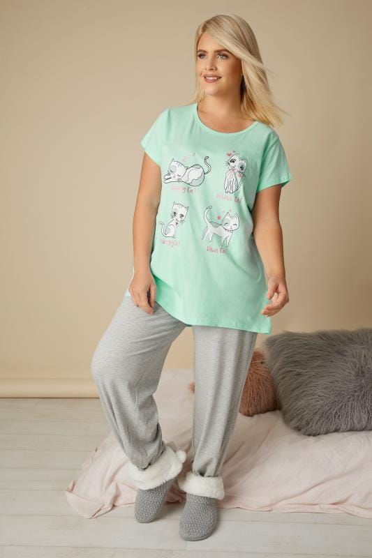 Mint Green Cat Print Pyjama Top
