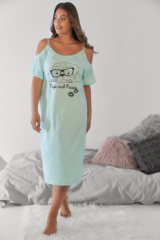 "Mint Green ""Pugs & Kisses"" Print Cold Shoulder Nightdress"