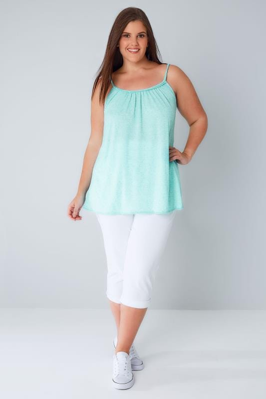 Mint Green Swing Vest With Plaited Straps & Pom Hem