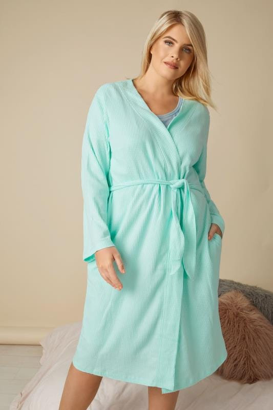 Plus Size Dressing Gowns Mint Green Textured Cotton Dressing Gown With Pockets