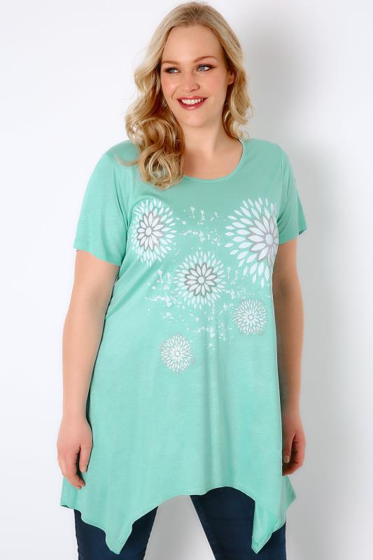 Mint Green & White Floral Print Jersey Top With Glitter Detail & Hanky Hem