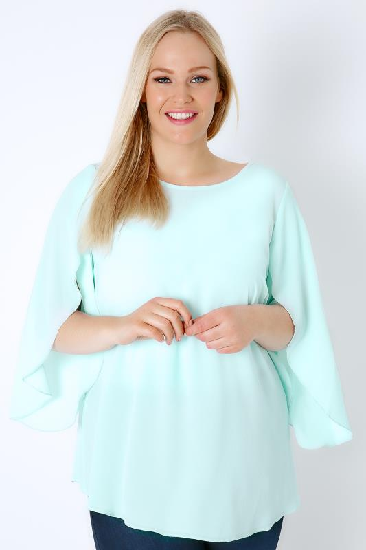 Mint Green Woven Blouse With Angel Sleeves