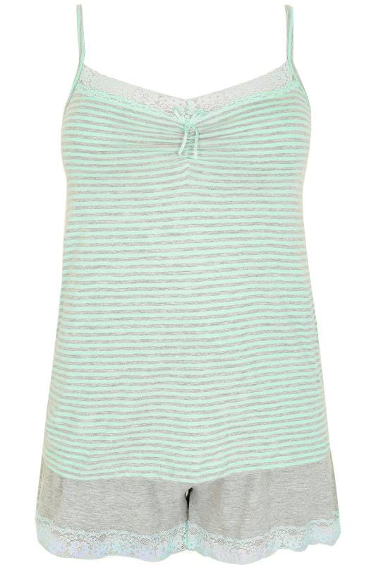 Mint Green & Grey Marl Stripe Cami Vest & Lace Trim Shorts Pyjama Set