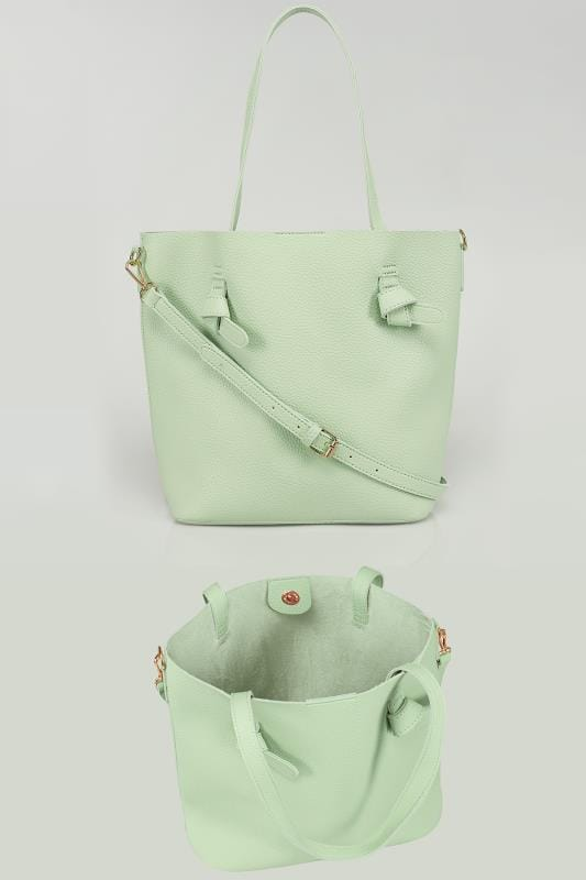 Plus Size Bags & Purses Mint Leather Look Shopper Bag With Knot Trim