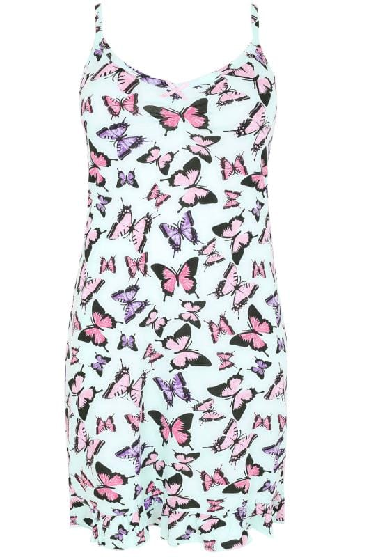 Mint & Multi Butterfly Print Chemise With Ruffle Hem