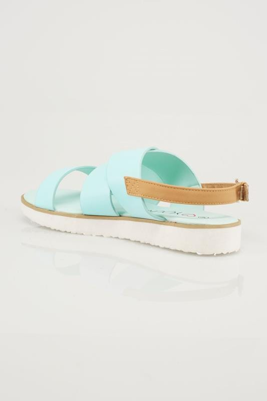 Mint Three Strap Flat Sandals With Contrast Back Strap In EEE Fit