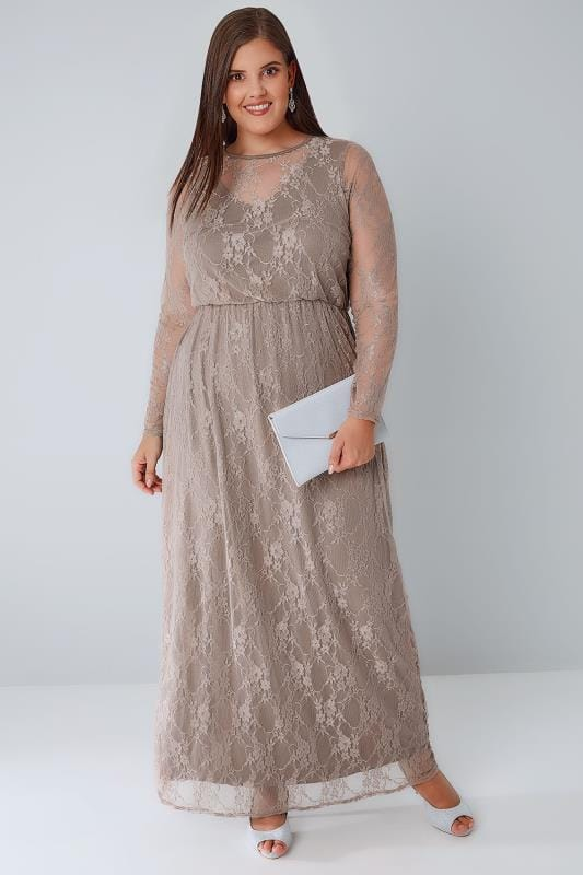 YOURS LONDON Mocha Brown Lace Overlay Maxi Dress With Elasticated Waist