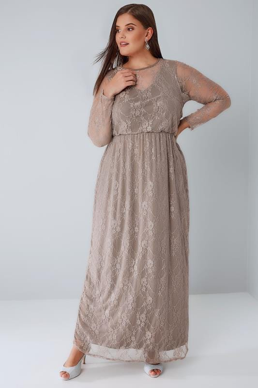 Maxi Dresses YOURS LONDON Mocha Brown Lace Overlay Maxi Dress With Elasticated Waist 156066