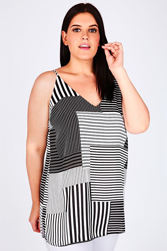 Mono Stripe Lightweight Cami Vest Top With V Neckline