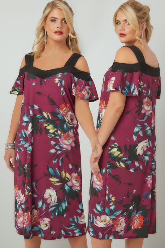 Multi Floral Print Cold Shoulder Midi Dress