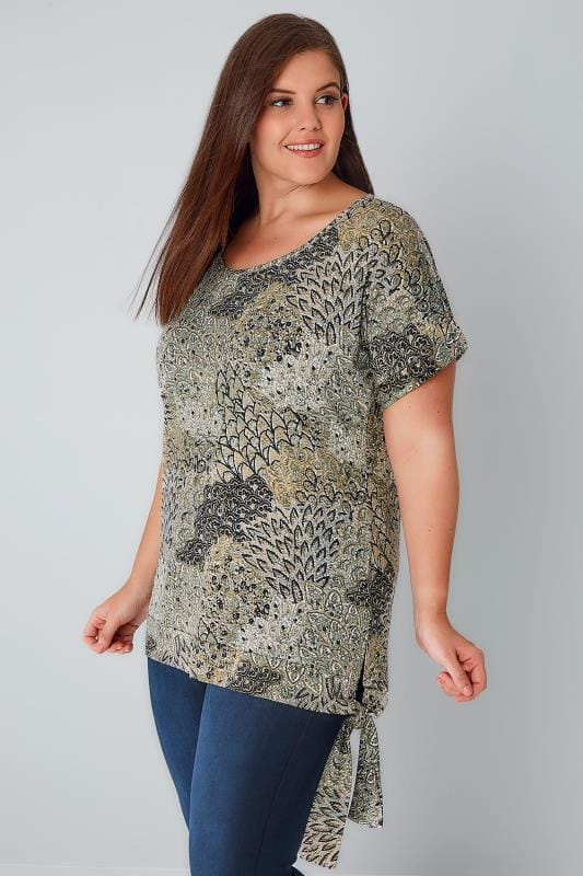 Multi Leaf Print Top With Tie Hem