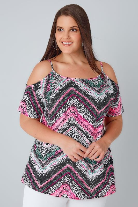 Multi Neon Mixed Zig Zag Print Strappy Cold Shoulder Jersey Top