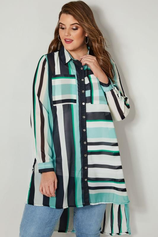 Plus Size Shirts Multi Striped Chiffon Shirt With Dipped Hem