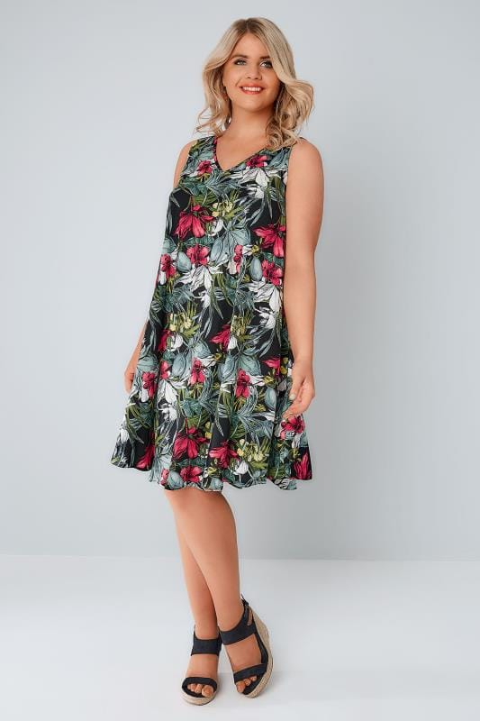 Multi Tropical Floral Swing Dress