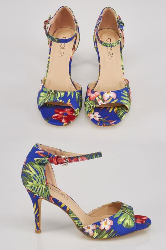 Multi Tropical Print Heeled Sandals With Ankle Strap In EEE Fit