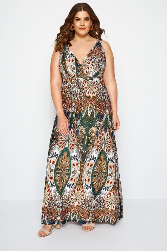 c5e3a6589f Plus Size Maxi Dresses Multi Tropical Print Maxi Dress