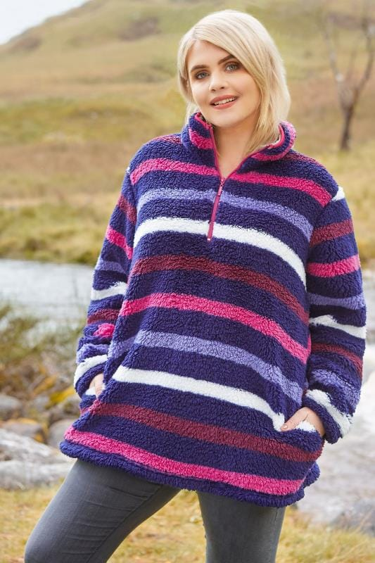 Plus Size Fleeces Multicolour Stripe Teddy Fleece