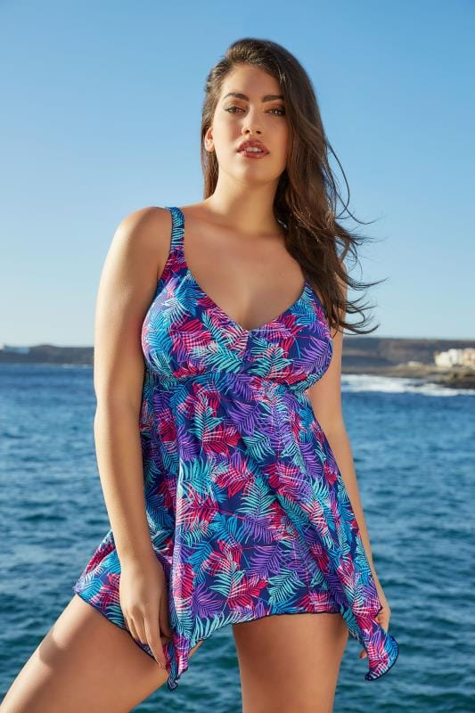 Plus Size Swim Dresses Multicoloured Fern Leaf Print Hanky Hem Swim Dress