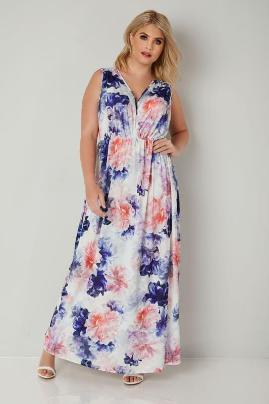 Plus Size Maxi Dresses Multicoloured Floral Slinky Jersey Maxi Dress