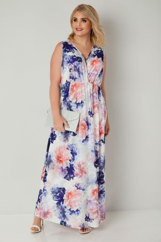 Multicoloured Floral Slinky Jersey Maxi Dress