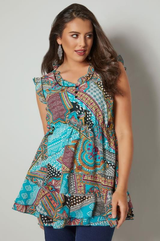Plus Size Day Tops Multicoloured Printed Longline Top With Frilled Details & Elasticated Waist