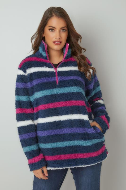 Multicoloured Striped Fleece With Zip Neck
