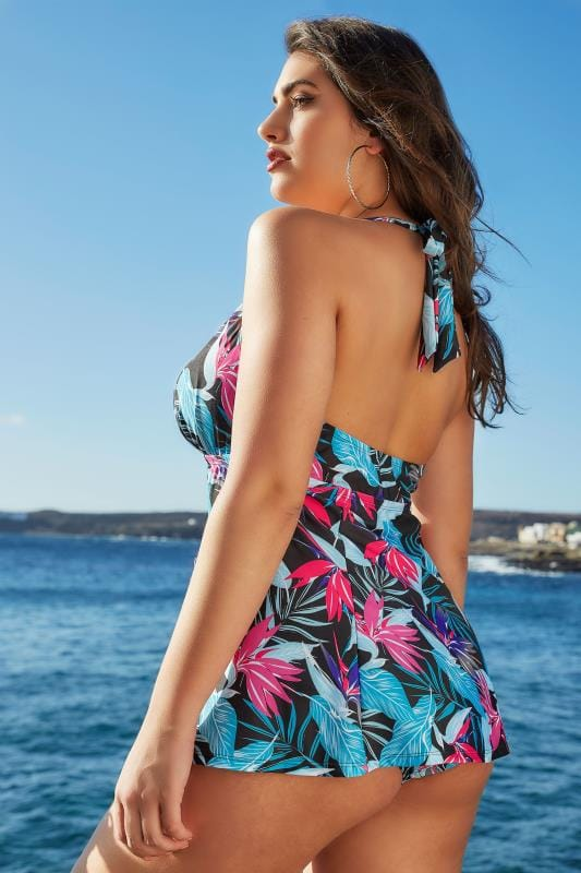 Multicoloured Tropical Leaf Print Halterneck Swim Dress