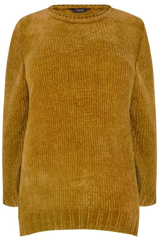 Plus Size Knitted Tops & Jumpers Mustard Chenille Jumper