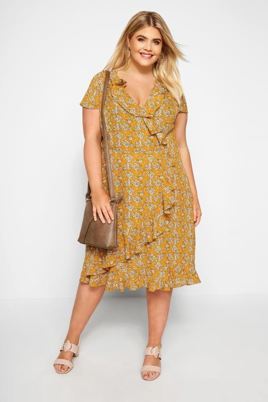 Mustard Floral Frill Wrap Dress