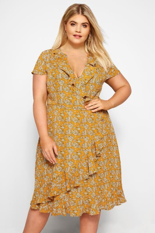 eaabc3ff30ea Plus Size Wrap Dresses Mustard Floral Frill Wrap Dress