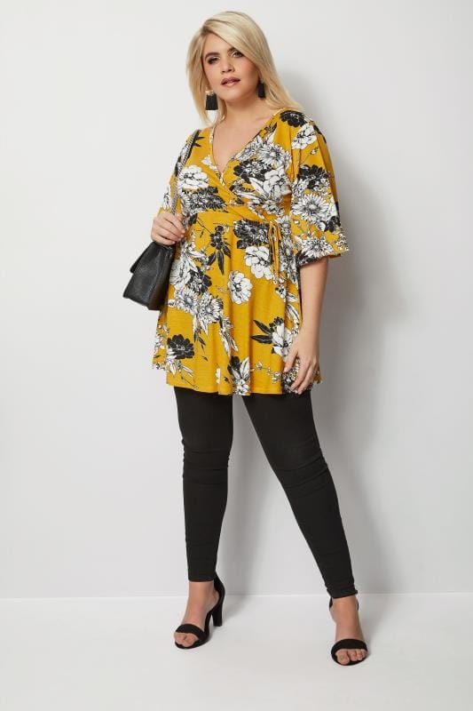 Plus Size Day Tops Mustard Floral Wrap Top