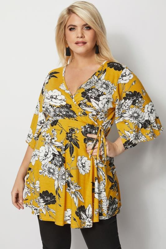 Mustard Floral Wrap Top