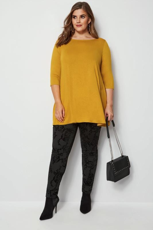 Plus Size Longline Tops Mustard Longline Top With Envelope Neckline