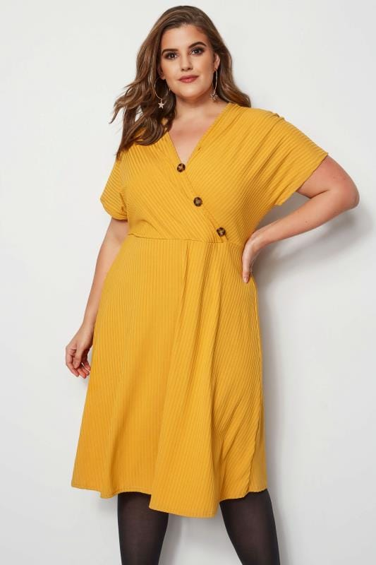 Plus Size Midi Dresses Mustard Ribbed Wrap Front Dress