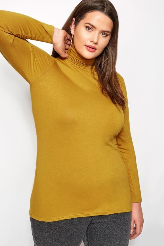 Plus Size Jersey Tops Mustard Roll Neck Top