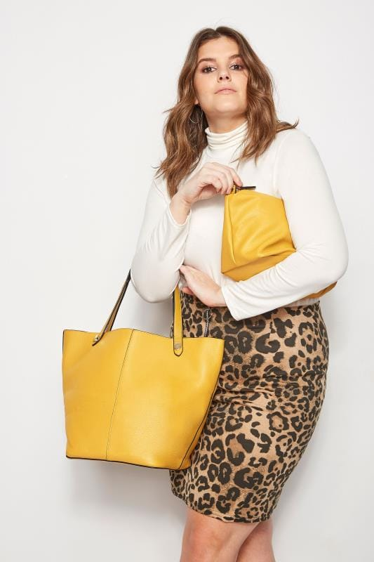 Shopper & Tote Bags Mustard Yellow Grained Tote Bag With Removable Compartment