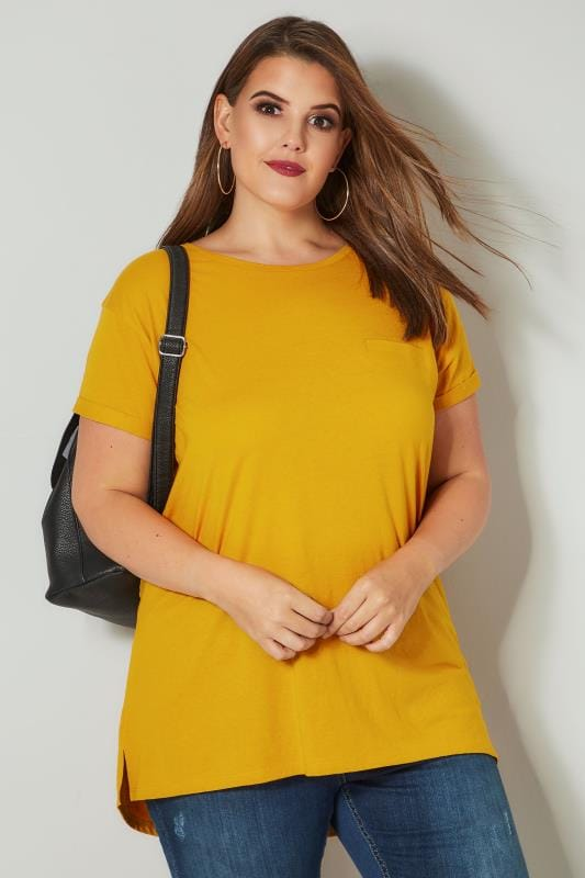 Plus Size T-Shirts Mustard Yellow Mock Pocket T-Shirt With Curved Hem