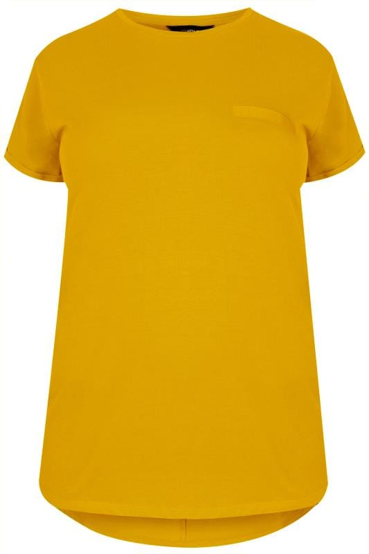 Mustard Yellow Mock Pocket T-Shirt With Curved Hem, Plus -3611