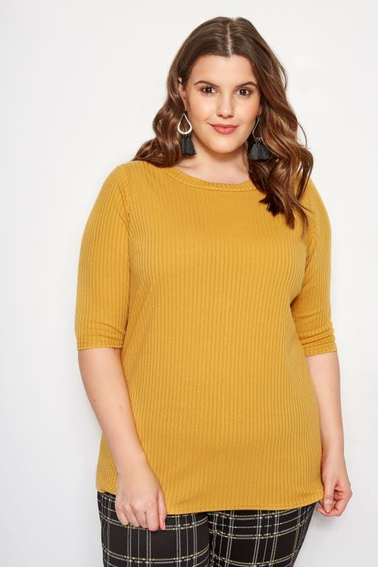 Plus Size Basic T-Shirts & Vests LIMITED COLLECTION Mustard Yellow Ribbed Top