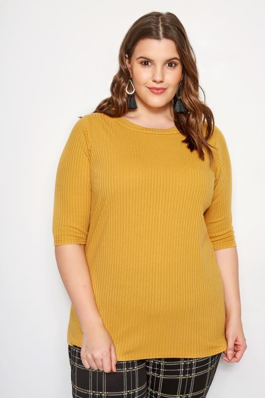 Plus Size Basic T-Shirts & Vests Mustard Yellow Ribbed Top