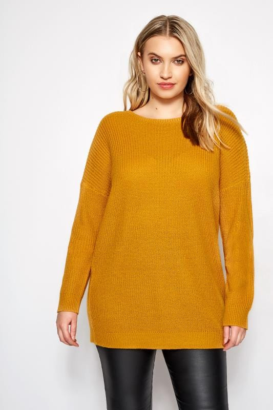 Plus Size Sweaters Mustard Yellow Lattice Back Knitted Jumper