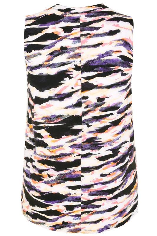 Multi Animal Print Sleeveless Top With Zip Front