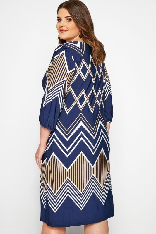 Navy Geometric Print Shift Dress