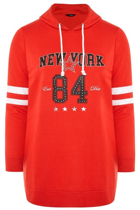 Plus Size Hoodies & Jackets Red 'New York' Slogan Hoodie