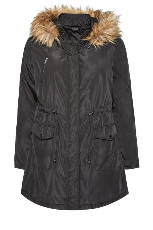 Plus Size Parkas Black Fleece Lined Hooded Parka