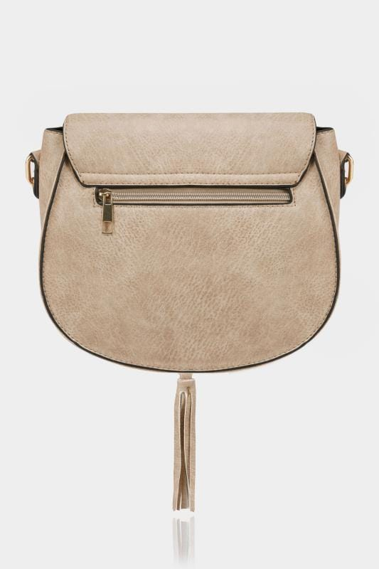 Natural Beige Stitched Cross Body Saddle Bag