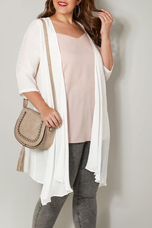 Plus Size Bags & Purses Beige Stitched Cross Body Bag